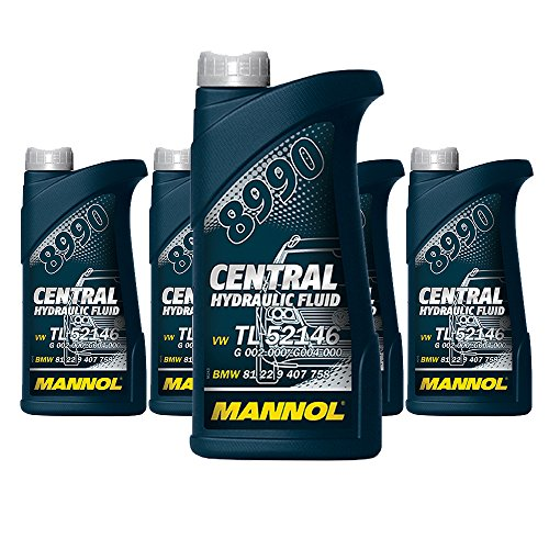 MANNOL 5 x 500ml 8990 Central Hydraulic Fluid / CHF11S Hydraulik- Servo- oel Gruen