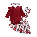 URMAGIC Conjunto de falda para bebé niña con mangas con volantes, pelele + falda de flores de algodón para verano rojo 12-18 Meses