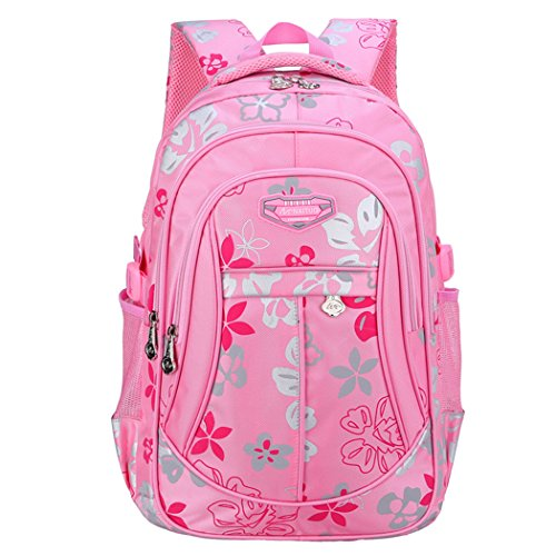 Tinksky School Sports Backpack Flowers Pattern Christmas Students Book Bag Good Gift for Children