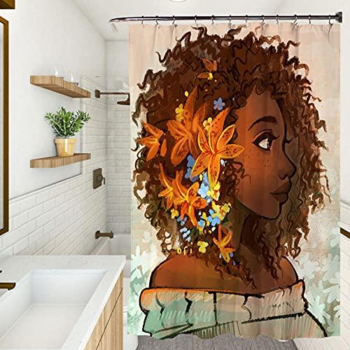 Cortina de ducha, impermeable resistente al moho cortina de ducha, protección del medio ambiente cortina engrosada (180 x 180 cm) Flor niña
