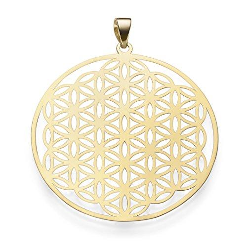 Anhänger Lebensblume mit Ornament 40mm 585 Gold Gelbgold rund Halsschmuck