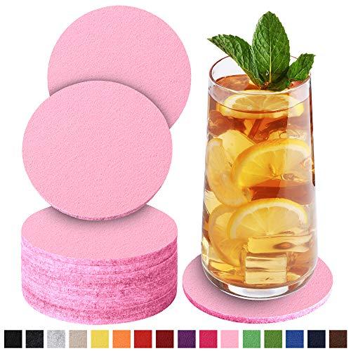 Sidorenko Filz Untersetzer rund für Gläser - 10er Set - Design Glasuntersetzer in rose für Getränke, Tassen, Bar, Glas - Premium Tischuntersetzer Filzuntersetzer