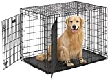 MidWest Ultima Pro (Professional Series & Most Durable Dog Crate) | Extra-Strong Double Door Folding Metal Dog Crate w/Divider Panel, Floor Protecting 'Roller Feet' & Leak-Proof Plastic Pan