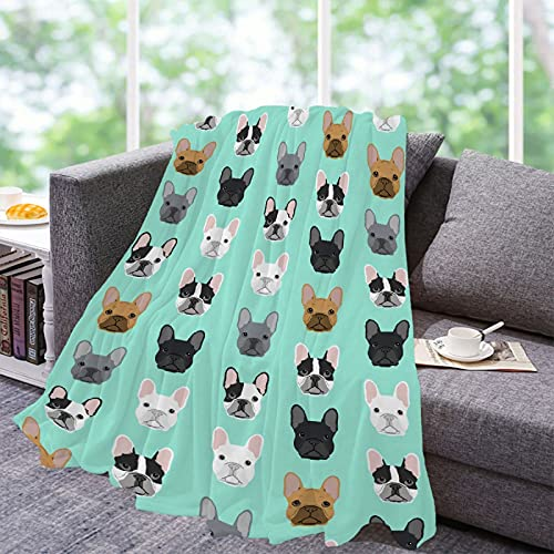 Lynnezilla French Bulldog Faces Pattern Throw Blanket | Flannel Fleece Ultra Soft Bedding Quilt Home Decor | Lightweight Soft Cozy Luxury Blanket for All Season Small 50x40in for Kids
