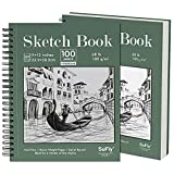 SuFly Sketch Pad for Drawing, 9'x12' Sketchbook 2 Pack 100 Sheets Each (68lb/100gsm) Spiral-Bound Acid Free Drawing Paper with Hard Cover for Graphite Pencil, Charcoal, Pastels, for Kids & Adults