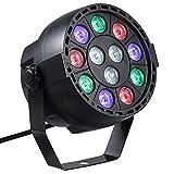 Lixada AC 90-240V 12 Luces LED Par 8 canales RGBW Mezcla de color Luz de Escenario con Modo de activación por sonido y estroboscopio DMX para Interiores KTV Pub Bar Escuela de Bodas Show Xmas Club