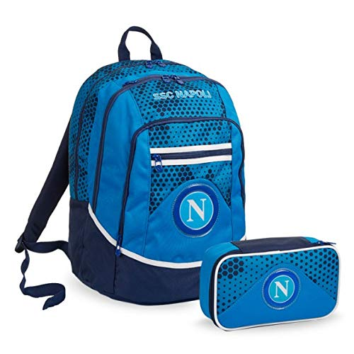 Seven Schoolpack SSC Napoli - Mochila con estuche de 3 piezas y balón