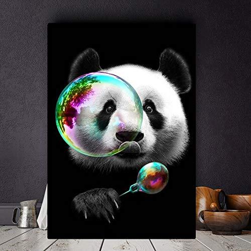 wZUN Lindos Carteles e Impresiones de Lienzo de Panda Art Pintura en la Pared imágenes de Dibujos Animados para la decoración de la Pared de la habitación de los niños 60X90 Sin Marco