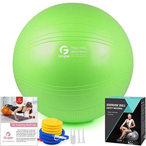 Gruper Yoga Stabilitätsball–Extra dicker Gymnastikball für Fitness Balance Workout–Anti-Burst Stuhl für Zuhause und Büro Schreibtisch–inkl. Handpumpe und Workout Guide Zugang (Grün, 75cm (30 inch),XL)