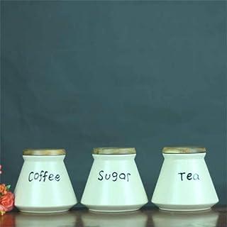 AWAING Bocaux 3pcs Céramique Café Pot de rangement Set de cuisine Snack aliments frais Boîte à thé de sucre Cans petit rés...