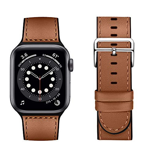 Coholl Leather Silicone Hybrid Straps for Apple Watch Strap 40mm 44mm 38mm 42mm,Men Women Replacement Watch Band for iWatch Series 6 5 4 3 2 1/SE,brown