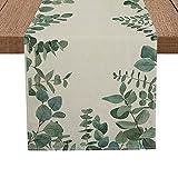 Artoid Mode Eucalyptus Leaves Runner, Seasonal Summer Green Plants Holiday Kitchen Dining Table Runner for Home Party Decor 13 x 72 Inch