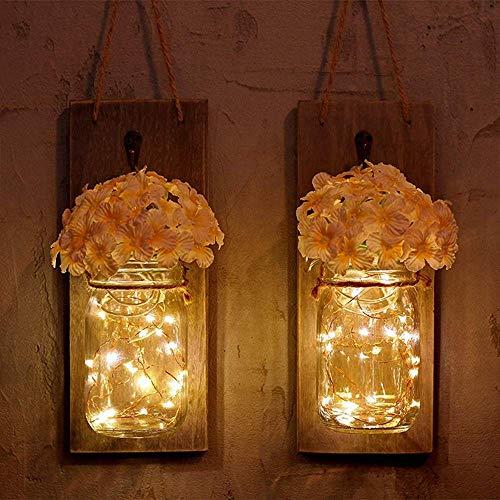 DINGYGJ Cadena de luz LED, 1 Juego de 2 Paquetes de luz de Pared Vintage Mason Jar con Flor Artificial, Linterna Colgante LED Estrellada Aplique de Pared Retro for Cocina Loft Sala de Estar