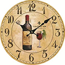 Moonluna Wine Rustic Wooden Wall Clock Christmas Farmhouse Gift for Living Room Bedroom Kitchen Home Decor 12 Inches