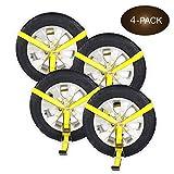 Four Side Mount Wheel net con cricchetto e gancio piatto, pneumatico lasso strap