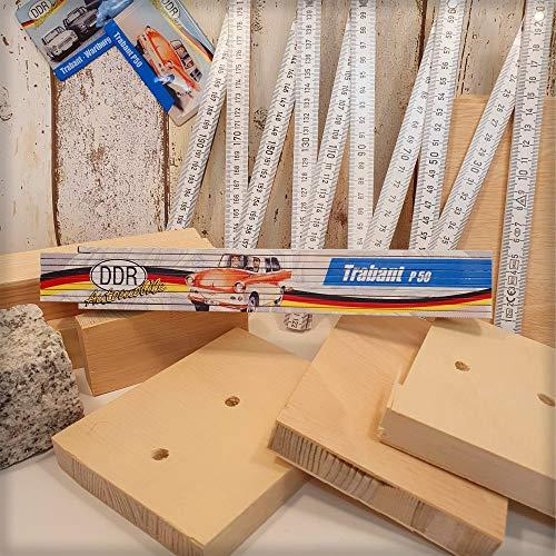 Ostalgie 2 Meter Zollstock mit Spruch, der DDR Meterstab Gliedermaßstab für Ostalgiker und Fans für Ostprodukte Ost Produkte (Zollstock: - Trabant P50 -)