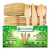 EccoWave - Paquete de 200 Cubiertos de madera Desechables Ecológicos Aptos para Barbacoas, Cumpleaños, Camping, Picnic (100 Tenedores, 50 Cuchillos, 50 Cucharas)