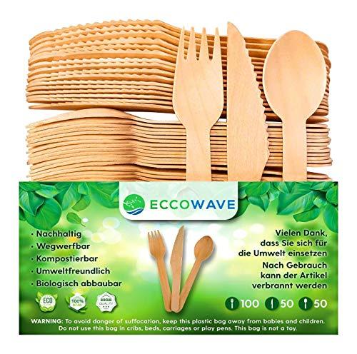 EccoWave - Paquete de 200 Cubiertos de madera...