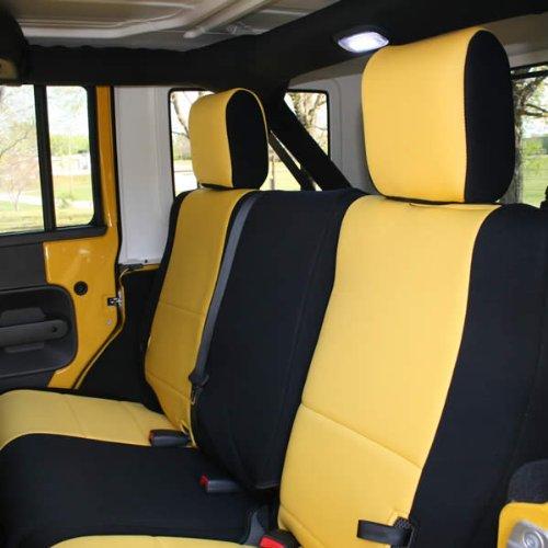 Coverking Rear 60/40 Split Bench Custom Fit Seat Cover for Select Jeep Wrangler JK Models - Neoprene (Yellow with Black Sides)