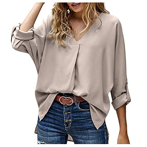 Blusa de Mujer Moda Casual Pullover Elegante Manga Larga Hebilla de Manga Cuello en V Sudadera Camiseta Color Sólido Camisa T-Shirt Tops (XL, Caqui)