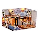 Miniatura de la casa de muñecas con Muebles, Bricolaje Kit de casa de muñecas Mini 3D casa de Madera habitación Hecha a Mano de Juguetes con Muebles Luces LED Regalo de cumpleaños de San Valentín