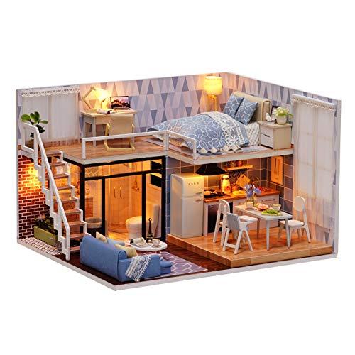 Miniatura de la casa de muñecas con Muebles, Bricolaje Kit de casa de muñecas Mini 3D casa de Madera habitación Hecha a Mano de Juguetes con Muebles Luces LED Regalo de cumpleaños de San Valen