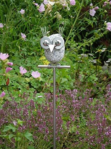 Manufaktur-Lichtbogen Edelstahl Gartendeko Eule Mia Gartenstecker aus Edelstahl Steinvogel