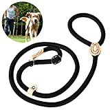 UEETEK 1,4 CM Perro Slip formación Correa Collar Nylon Plomo para Mascotas Entrenamiento (Negro)