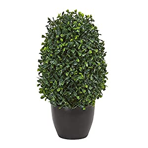 "Nearly Natural 13"" Boxwood Topiary Artificial UV Resistant (Indoor/Outdoor) Silk Plants Green"