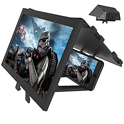 "LAIKETE 12"" 3D Mobile Phone Screen Magnifier, Anti-Blue Light Expander Magnifying Phone Screen Amplifier for Movie, Video, Game, Full Coverage Foldable Holder Stand, Compatible All Smartphones from LAIKETE"