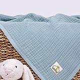 ArbaBaby Mantas de algodón de muselina de 4 capas, mantas de algodón orgánico de color verde, mantas de cochecito suave, colchas de algodón de gasa, regalo de bienvenida