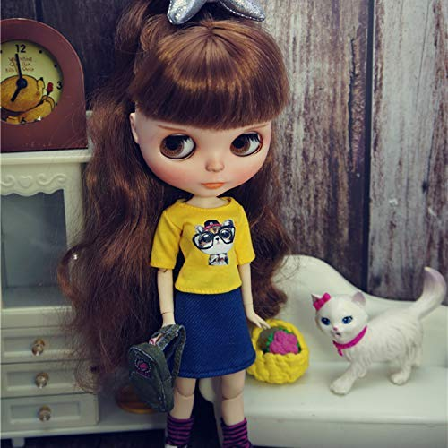 leoglint Blythe Doll Clothing, Shirt and Skirt Clothes for Blythe Doll 30 cm 1/6 Bjd Dolls Azone ICY Licca Doll