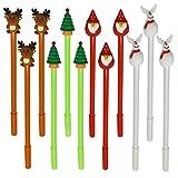 Maydahui 12PCS Christmas Theme RollerBall Pens Black Gel Ink Xmas Tree Snowman Reindeer Santa Claus...