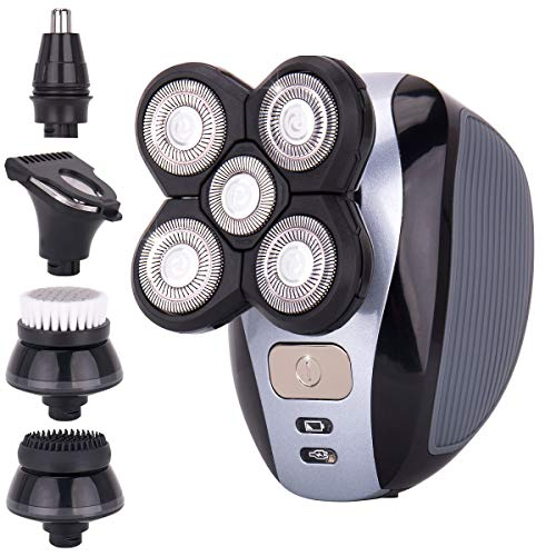 Men's 5-in-1 Electric Shaver & Grooming Kit by AsaVea: Five-Headed Beard, Hair Razor for a Perfect Bald Look, Cordless and Rechargeable