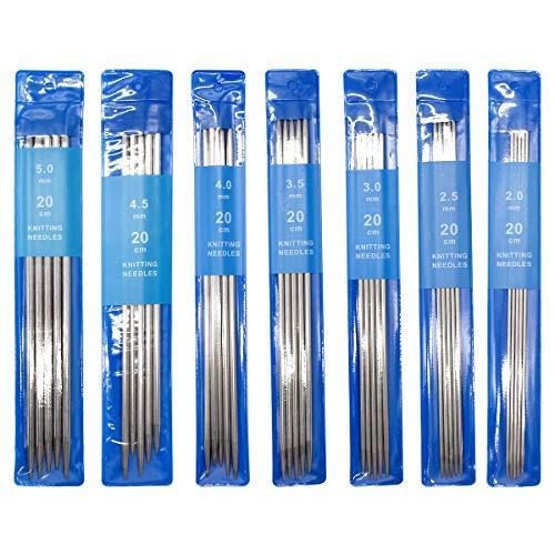 DBAILY 35 Piezas Agujas De Tejer Doble Punta De Acero Inoxidable De Doble Punta con Bolsa para Tejer Hechas a Mano Creativas Calcetines y Patrón (2mm 2.5mm 3mm 3.5mm 4mm 4.5mm 5mm)