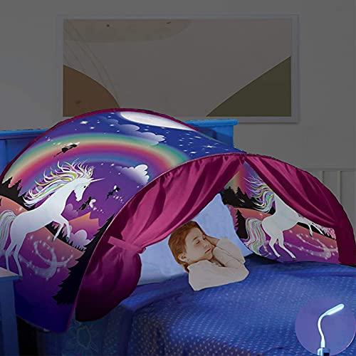 Mgee Tente Enfant, Tente de Lit, Tente de Rêve Pop up Tente Playhouse Intérieure, Cadeau de Vacances pour Garçon et Fille (A-Violet)