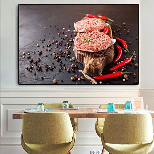 NSRJDSYT Grani Spezie Cottura peperoncino Cibo Carne Cucina Pittura su Tela Cuadros Poster scandinavi e Stampa Wall Art Picture Soggiorno-50x75cm Senza telaio