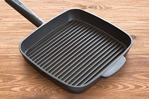 "MasterPan Ultra Nonstick Deep Grill Frying Pan with Detachable Handle, 11"", Black, MP-113"