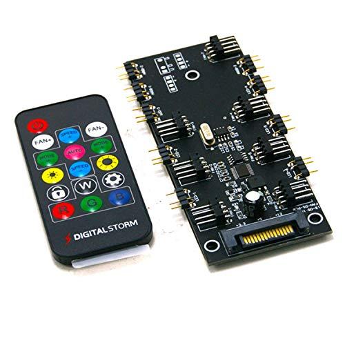 Huante ARGB 5V IluminacióN + Ventilador Hub PWM Controlador de una Pieza Fuente de AlimentacióN SATA para Ventilador de Caja de Computadora de 4 Pines y 3 Pines, con Control Remoto