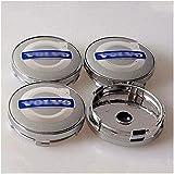 Aieryu 4Pcs Tapas Centrales de Llantas para Volvo S40 S60 S80L XC60 XC90, 3D Emblema Aluminio Tapas Centrales de Bujes Pegatinas con el Logotipo Rueda Accesorios, 60mm