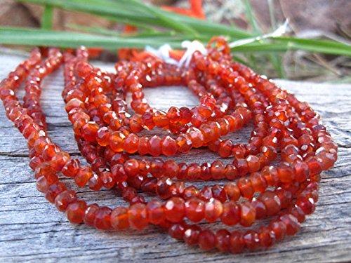 Perlas de cornalina con cuentas facetadas – 3 mm – gemas semipreciosas de 30,5 c