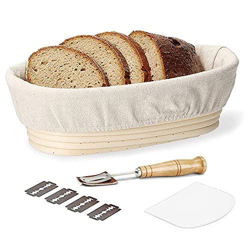 Gärkörbchen Oval Set, 10 zoll Banneton Gärkorb für Brotteig aus natürlichem Peddigrohr, ideale Brotform Brotkasten Gärkörbchen mit Leineneinsätze, Metallteigschaber,Ritzel-Lame und Etui, extra Klingen