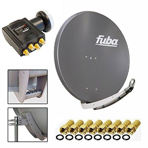 Antenne Fuba 74x84 cm Alu Anthrazit DAA 780 + PremiumX DELUXE Quad LNB 0,1 dB + 8x F-Stecker
