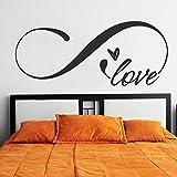 Vinilo adhesivo para pared, con el símbolo de infinito y la palabra 'Love', decoración romántica para cabecero de cama de tamaño King size, vinilo, Custom, 22'hx52'w