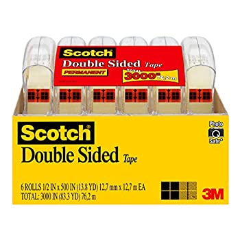 Scotch Double Sided Tape 1/2 in x 500 in 6 Dispensered Rolls  6137H-2PC-MP