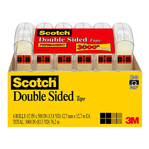 Scotch Double Sided Tape, 1/2 in x 500 in, 6 Dispensered Rolls (6137H-2PC-MP) $9.98