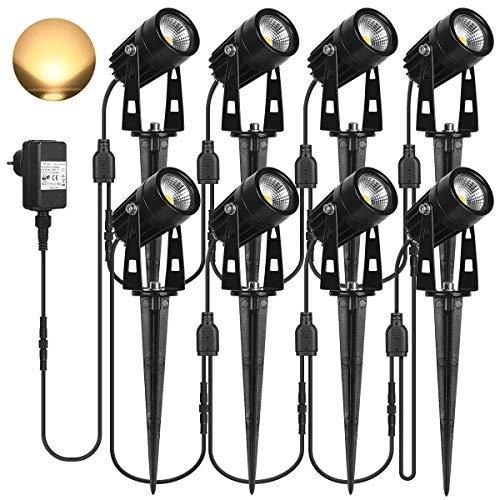 SanGlory 8er Set Gartenstrahler mit Erdspieß, 3W 2880 Lumen LED Gartenleuchte mit Stecker, IP65 Wasserdicht Gartenbeleuchtung LED mit Kabel, Warmweiß Außen-Strahler Außenlampe für Baum, Teich, Garten