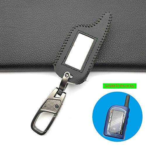 AHUIAI Schlüsseletui Neue Leder Schlüsseletui Für Scher Khan Magicar 4 3 LCD-Fernbedienung Zweiwegautowarnungssystem 2018 Heißer FernautowarnungsabdeckungSchwarze Linie