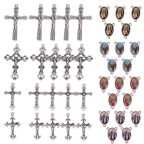 SUNNYCLUE 40PCS Medalla Milagrosa de Cruz Y Centro con Colgantes de Cruz de Crucifijo de Aleación Y Eslabones de Araña Ovalada para Hacer Collar de Cuentas