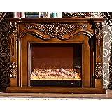 Chimenea de dormitorio Chimenea eléctrica Insertar FireBox Burner Chimenea Set Mantel de madera con artificial DIRIGIÓ Chimenea de decoración óptica de llama ( Color : Brown without heater )